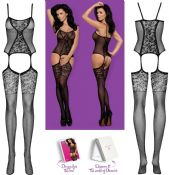 Obsessive Lingerie [ UK 6 - 12 ] Black F211 'Fantastic' Bodystocking (E24037)